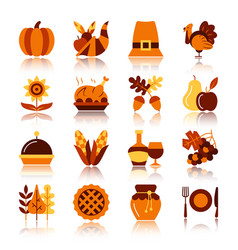 thanksgiving day color silhouette icon set vector image