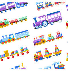 Toy trains with kid toys and children playthings vector