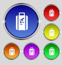 Travel luggage suitcase icon sign Round symbol on vector