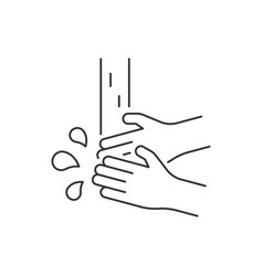 washing hands line icon on white background vector image