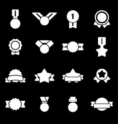 white award medal icons set vector image