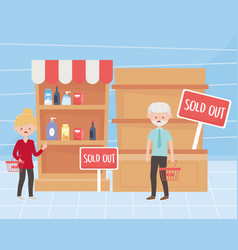 Woman and man customers with empty baskets and vector