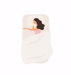 woman sleeping at night in her bed good healthy vector image