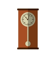 Wooden clock antique isolated icon vector