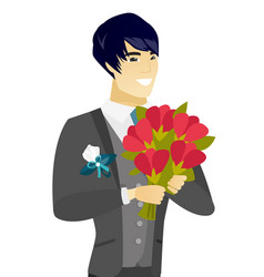 young asian groom with a bridal bouquet vector image