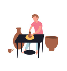 Young man making pots with clay pottery vector