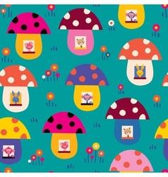 cute animals in mushroom houses kids pattern vector image vector image