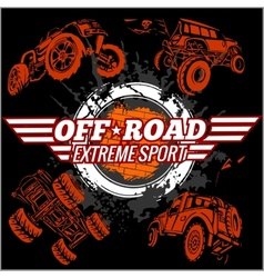 emblem with off-road cars vector image vector image