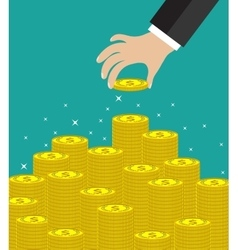 Hand put coin to money staircase vector image vector image
