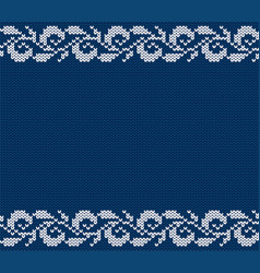 knitted blue christmas floral ornament winter vector image