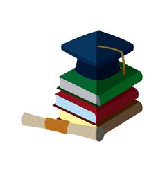 back to school book graduation cap and certificate vector image vector image
