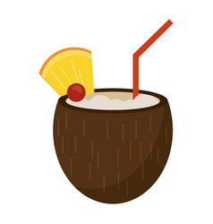 cocktail coconut fresh drink vector image