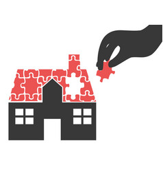 hand took house puzzle piece vector image vector image