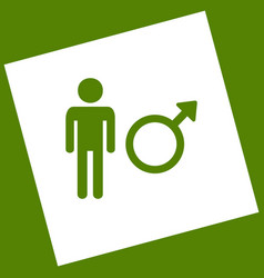 male sign white icon vector image vector image