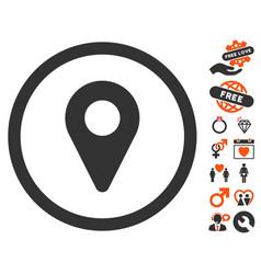map marker icon with valentine bonus vector image vector image
