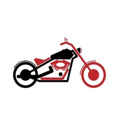 Simple motorcycle in black and red color vector image