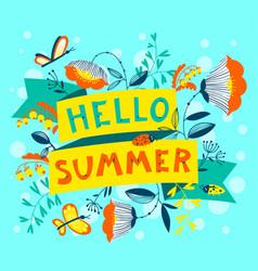 Summer floral banner enjoy summer lettering cute vector