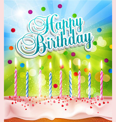 background for birthday with a cake and candles vector image vector image