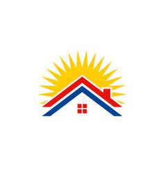 roof house solar energy logo vector image