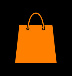 shopping bag orange icon on black vector image vector image