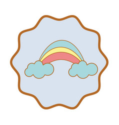 Symbol beauty rainbow with clouds image vector