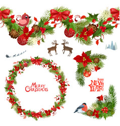 christmas collection of floral patterns and vector image vector image