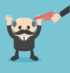 gun point to businessman head business concept vector image