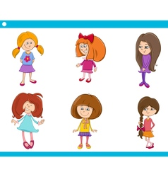 kid girls characters cartoon set vector image vector image