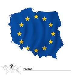 Map of Poland with European Union flag vector image vector image