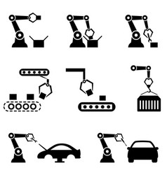 robot arms in automated factory vector image vector image
