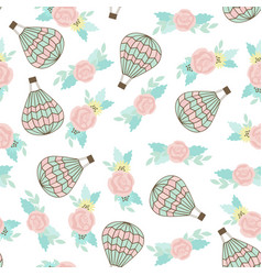 seamless pattern with ar balloon and bouquet vector image vector image