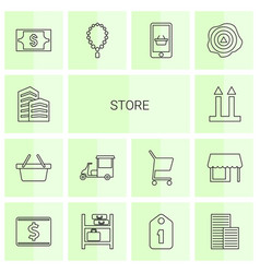 14 store icons vector image