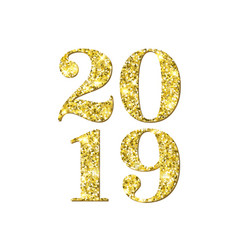 2019 new year golden glitter greeting card vector image