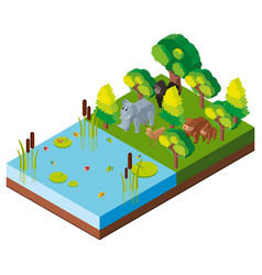 3d design for forest scene with animals vector image