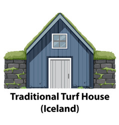 A traditional turf house vector