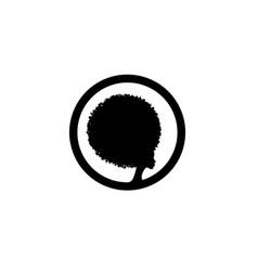 Afro woman logo design black diadem curly vector
