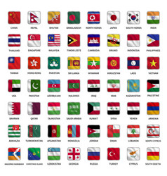 All asian country flags icons square shape waving vector
