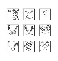 avatar doodle icons set vector image vector image