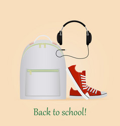 Back to school image with backpacksneakers and vector