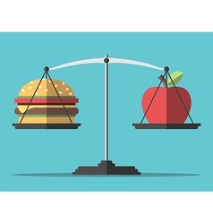 Balance hamburger and apple vector image
