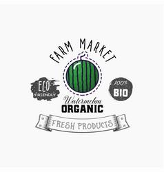 bio sticker and eco products watermelon web vector image