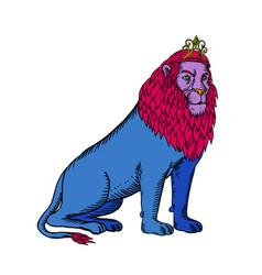 blue lion sitting wearing tiara crown etching vector image