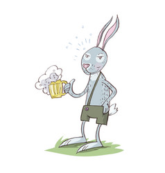 bunny drinking beer cartoon eps 10 vector image