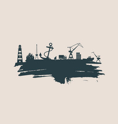 cargo port relative icons set vector image