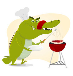 Cartoon crocodile bbq vector