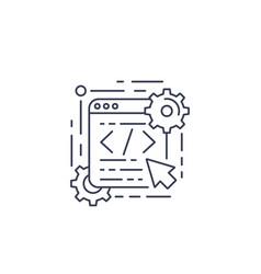 Coding web design app development line icon vector