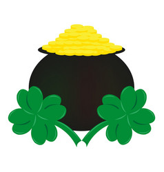 Coins and clover the symbol of st patrick s day vector