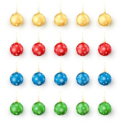 colorful christmas balls set realistic set of vector image
