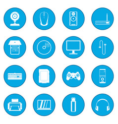 Computer icon blue vector
