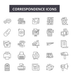 correspondence line icons for web and mobile vector image